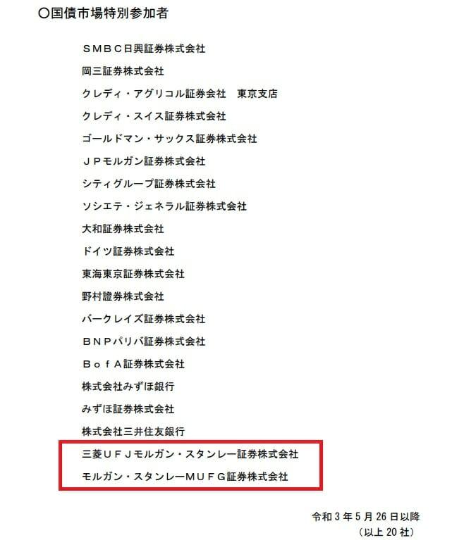 日本国債市場特別参加者