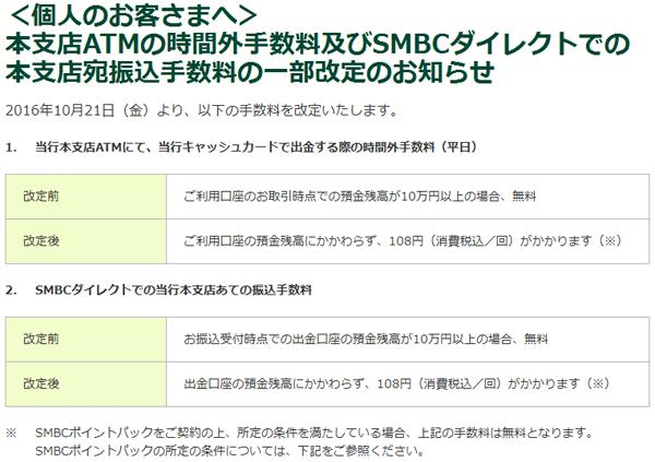 三井住友銀行の手数料