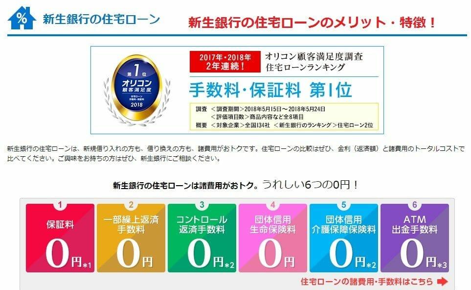 新生銀行の住宅ローンの特徴・メリット