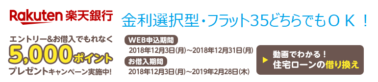 楽天銀行の住宅ローンのキャンペーン(2018年12月)