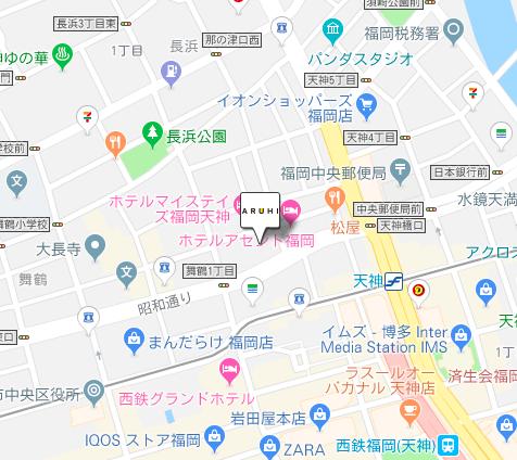 ARUHI(アルヒ)の福岡中央支店の地図です