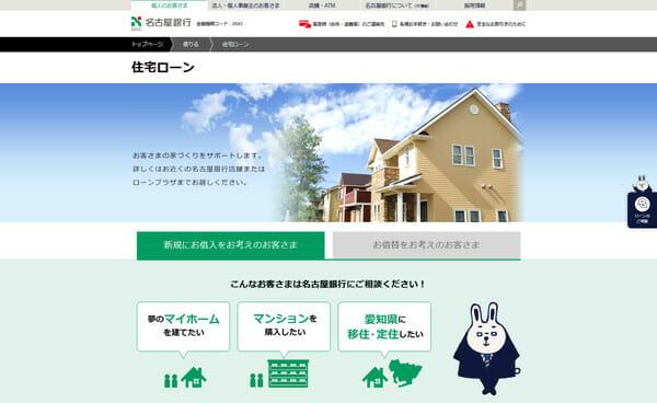 名古屋銀行の住宅ローンページのキャプチャ画像です