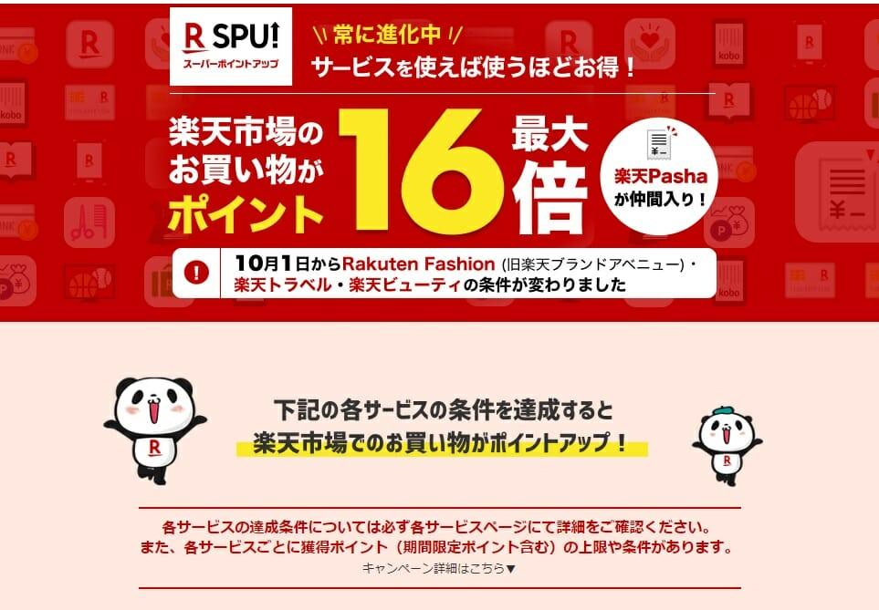 楽天市場のSPU(スーパーポイントアッププログラム)