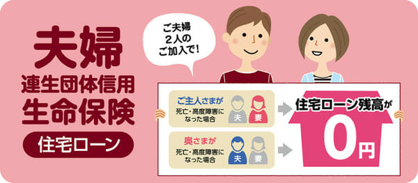 静岡銀行の夫婦連生団体信用生命保険のバナーです